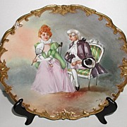 Exquisite Coronet Limoges Artist Signed Dubois Charger Plaque Victorian Courting Scene Gold En