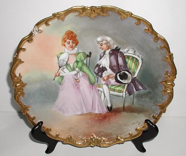 Exquisite Coronet Limoges Artist Signed Dubois Charger Plaque Victorian Courting Scene Gold Encrusted Rim