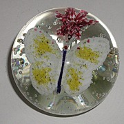 REDUCED Vintage Swedish Butterfly & Flower Paperweight Controlled Bubbles