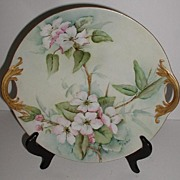 REDUCED Stunning Hand Painted Artist Signed  Pink Apple Blossom Cake Plate Gold Handles