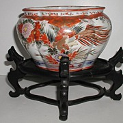 Exceptional Japanese Imari Oval Bowl Birds Peacock Chrysanthemums Vibrant Colors Stand Include