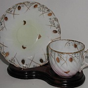 Incredible Vintage Petite Demitasse Cup & Saucer Hand Painted GOLD Chestnuts & Butterflies Swi