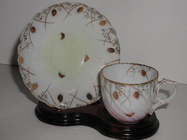 Incredible Vintage Petite Demitasse Cup & Saucer Hand Painted GOLD Chestnuts & Butterflies Swirled Fluting Scalloped Rims White Daisies
