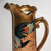 "AT AUCTION Extraordinary JPL Jean Pouyat Limoges France Fighting Cocks Roosters 14.5"" Tan"