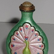 Striking Chinese Cloisonne Peacock Snuff Bottle Green Pink Red Brass Spoon