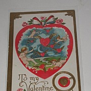 REDUCED Absolutely Charming Early 1900s Valentine Day Postcard Embossed Cherubs Cupids Shootin