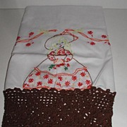 Pair Hand Embroidered & Crocheted Pillowcases Vividly Colored Maiden With Gown & Bonnet 5""