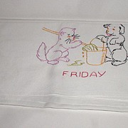 Fabulous Hand Embroidered Linen Tea Tablecloth Friday Cleaning Day Dog & Cat Mopping The Floor
