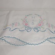 "Exquisite Hand Embroidered Linen  "" His "" Pillowcase Floral & Ribbon Scalloped Croch"