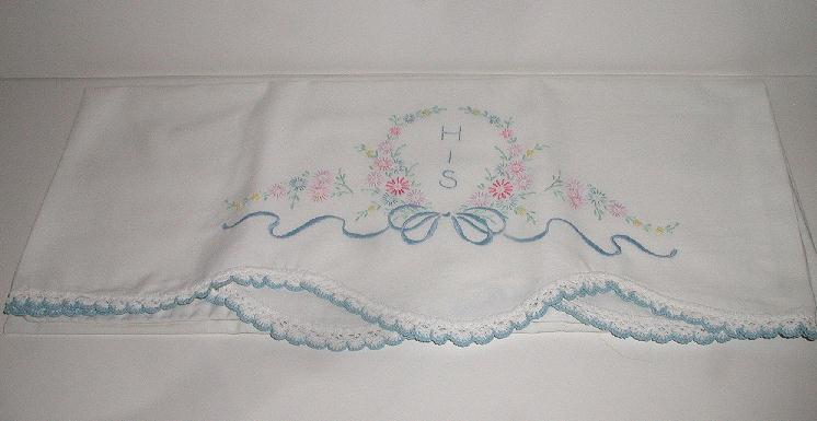 Exquisite Hand Embroidered Linen  &quot; His &quot; Pillowcase Floral & Ribbon Scalloped Crocheted Edge