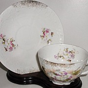 REDUCED Lovely Furstenburg Brunswick Germany Porcelain Cup & Saucer Pink Purple White Flowers
