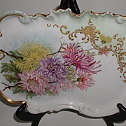 Exquisite Limoges France Vanity Tray Hand Painted Dahlias Gold Beading Gold Scrolling Gold Tri