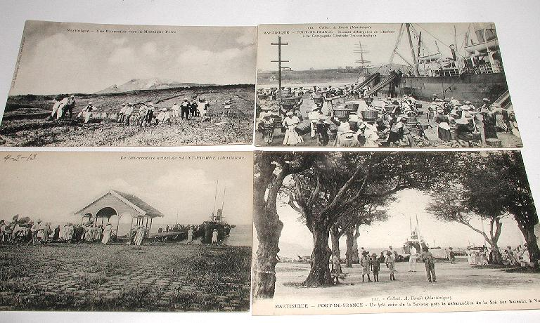 Four Vintage Early 1900s Real Photo Postcards Martinique 3 Water Fort-De-France Mount Pelee Expedition Postally Unused No Writing