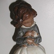 "REDUCED Adorable Lladro Figurine Tenderness #2094 Girl With Bunny 8.25"" Retired 2000 Larg"