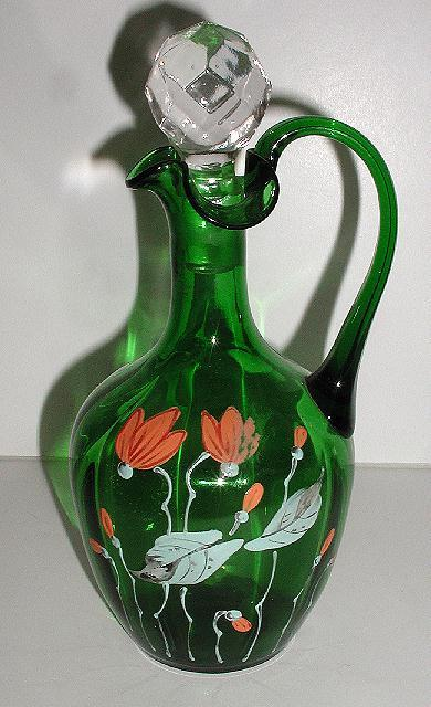 exquisite Victorian Forest Green Cruet Hand Painted Orange & White Enameled Flowers Ruffled Rim