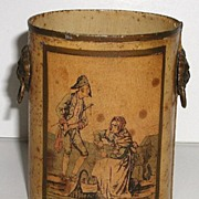 Old French Miniature Toleware Tin Pail Lion Handles Soldier & Street Vendor Portrait Artist Si