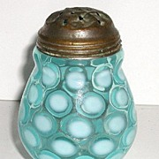 REDUCED Exquisite Victorian 1800s Blue Opalescent Coin Spot Glass Sugar Shaker Bulbous Mold