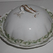 REDUCED 1893 Theodore Haviland Limoges Covered Butter Dish Green Scrolls Flowers Fluting Embos