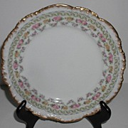 "Jean Pouyat JPL Limoges 7 5/8"" Luncheon Plate Pink Rose Brushed Gold Scalloped Rim Emboss"