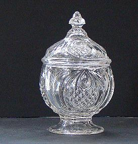 Extremely Scarce EAPG Early American Pattern Glass New England Pineapple Flint Covered Sugar Bowl