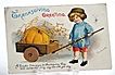 Vintage 1916 Ellen Clapsaddle Thanksgiving Greeting Postcard Pumpkin In Wooden Cart