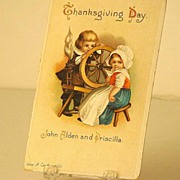Early 1900s Ellen Clapsaddle John Alden & Priscilla Thanksgiving Postcard
