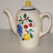 Scarce Stangl Pottery Trenton NJ Coffee Pot Fruit Pattern Grapes Cherries Peaches