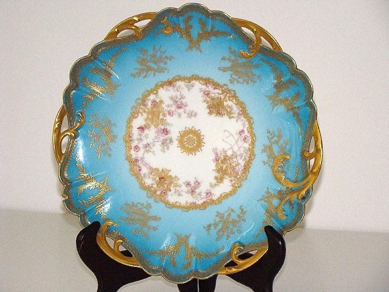 "Amazingly Detailed Haviland Limoges  8  7/8"" Pierced Plate Sky Blue Heavy Gold Leaf Pink Roses J. W. & W. Westwater"