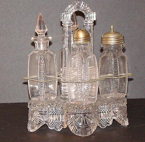 EAPG Early American Pattern Glass 5 PC All Glass Caster & Cruet Set