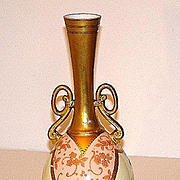 "Magnificent Martial Redon Limoges 9.75"" Long Neck Vase Pink Heavy Floral Gold Overlay Bea"