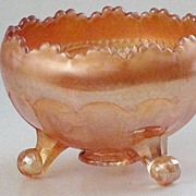 Stunning Fenton Horses' Head Marigold Footed Carnival Glass Rose Bowl