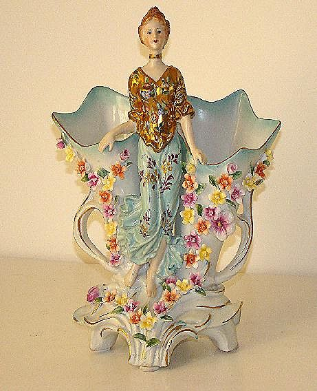 Stunning German Two Handled Porcelain Figurine Double Vase Applied Hand Painted Flowers Gold