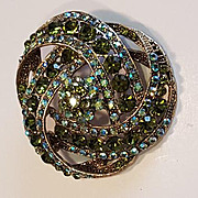 Large Green Aurora Borealis Rhinestone Brooch Unsigned