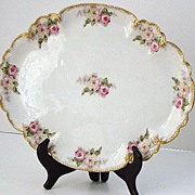 Lovely  GDA Charles Field Haviland Limoges Hand Painted Pink & White Rose Oval Plate