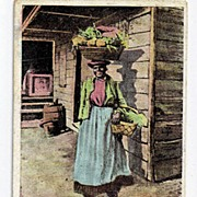Black Americana Postcard Greeting From The Sunny South Vegetable Vender Vendor Postally Unused