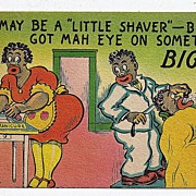 Black Americana Postcard I may Be A Little Shaver But I Got Mah Eye On Something Big