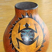 Vivid Signed Ron Rivera Mimbres Style Frog Decorated Gourd