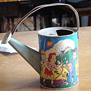 U.S. Metal Toy Mfg Co. Tin Lithograph Child's Watering Can Two Colorful Water Scenes