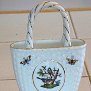 Fabulous Herend Hungary Handled Basket Rothschild Bird Pattern Butterflies