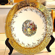 "Massive 13"" Homer Laughlin Charger Courting Scene 22k Gold filigree Floral"