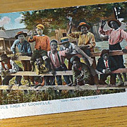 Copyright 1896 Black Americana Postcard The Mule Race At Coonville &quot;Here Comes De Winner&quot;