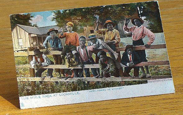 "Copyright 1896 Black Americana Postcard The Mule Race At Coonville ""Here Comes De Winner"""