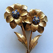 Amazingly Beautiful Tiffany Italy 18 k Gold Double Floral Pin Brooch Diamonds & Sapphires