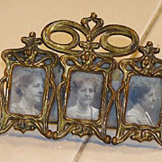 Highly Unusual Victorian Brass Miniature K & CO. (Kronheimer & Oldenbusch ) Ornate Triple Rect