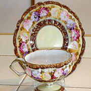 Amazing All Hand Painted Nippon Royal Kinran Pedestal Cup & Saucer Gold Beading Roses