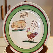 "Blue Ridge Southern Potteries 8 3/8"" Hand Painted Ham & Eggs Plate"