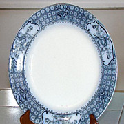 "Scarce Hollinshead & Kirkham Flow Blue 9 7/8"" plate Florence Pattern"