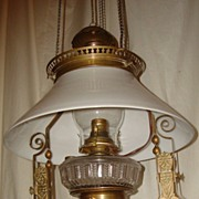 Aesthetic Style Jeweled Hanging Oil Lamp Circa 1880 - Converted Electric