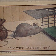 Vintage 1908 Novelty Post Card - Mice