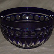 Cobalt Blue Cut To Clear Crystal Bowl Circa 1920